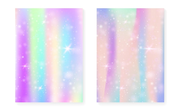 Princess background with kawaii rainbow gradient. magic unicorn hologram. holographic fairy set. trendy fantasy cover. princess background with sparkles and stars for cute girl party invitation.