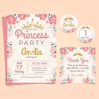 Birthday invitation vectors photos and psd files free download princess birthday invitation stopboris