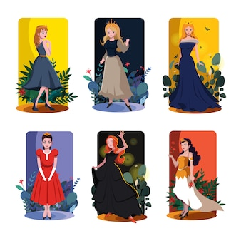 Princess card templates colored template vector