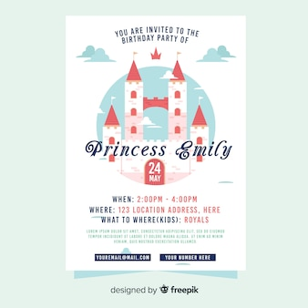 Princess castle party invitation template