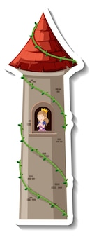 Principessa nella torre del castello su sfondo bianco