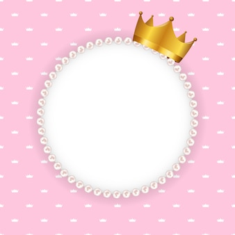 Princess crown circle frame with pearls