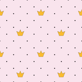 Princess crown seamless pattern