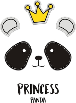 Princess, cute panda with crown