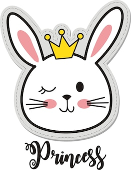 Princess, cute rabbit with crown