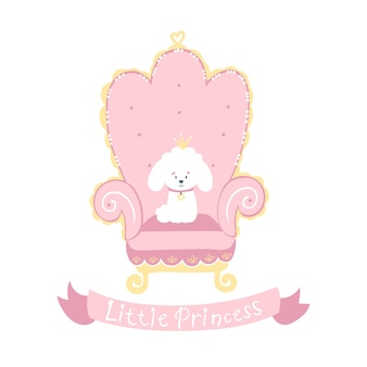 Princess dog white poodle with a crown on a pink throne. little princess