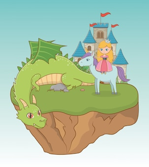 Princess dragon and horse of fairytale design