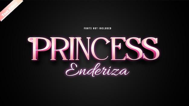 Принцесса эндериза текстовый эффект дизайн вектор