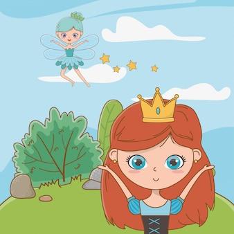 Princess and fairy of fairytale