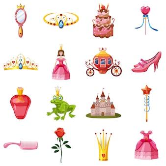 Набор иконок сказочной куклы принцессы, мультяшном стиле
