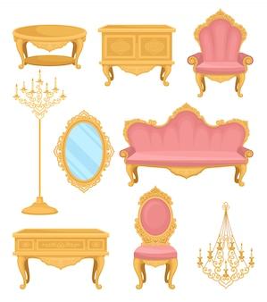 プリンセスの家具。リビングルームのコレクションの装飾要素。