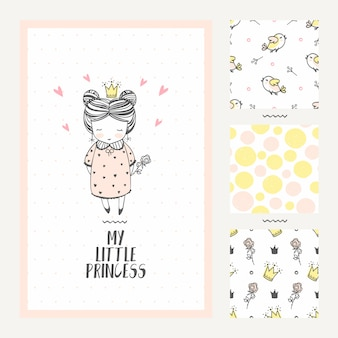 Princess girl greeting card and three seamless patterns