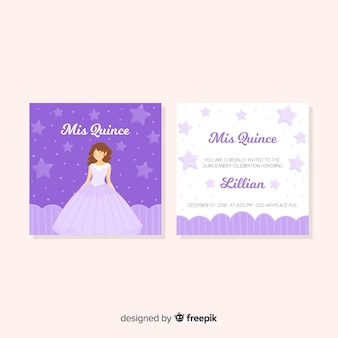 Princess girl quinceanera card template
