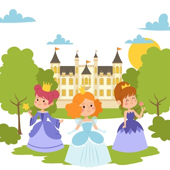 Princess girls in evening gowns elegant little female characters in flat style. fashionable ladies in dresses with crowns