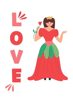 Принцесса в красном платье с короной и розой. волшебный персонаж из сказки. постер для детской комнаты с надписью love