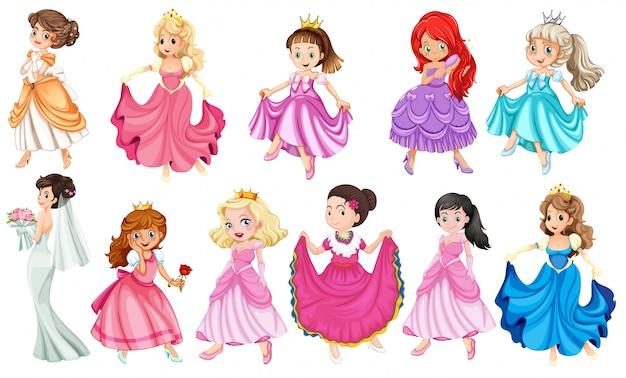 さまざまな美しいドレスのプリンセス
