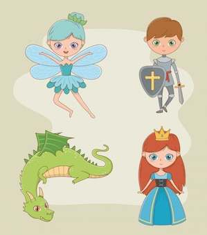 Princess knight fairy and dragon design