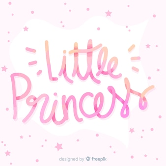 Princess lettering background with little stars