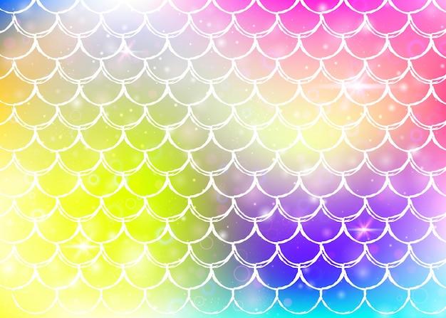 귀여운 무지개 비늘 패턴으로 공주 인어 배경입니다. 마법의 반짝임과 별이 있는 물고기 꼬리 배너. 여자 파티를 위한 바다 환상 초대. 무지개 빛깔의 공주 인어 배경입니다.