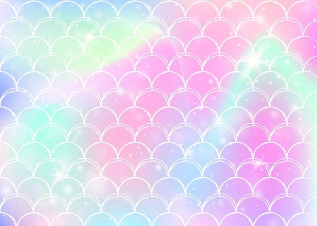 귀여운 무지개 비늘 패턴으로 공주 인어 배경입니다. 마법의 반짝임과 별이 있는 물고기 꼬리 배너. 여자 파티를 위한 바다 환상 초대. 여러 가지 빛깔의 공주 인어 배경입니다.