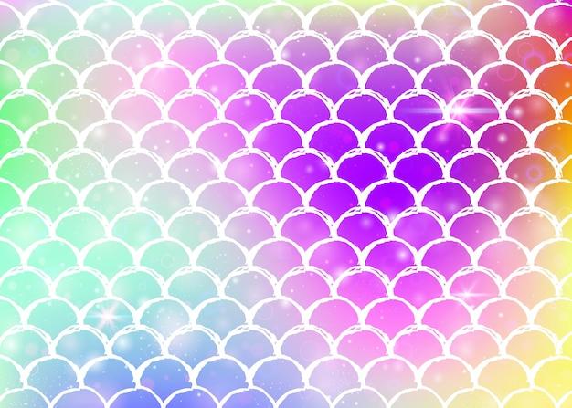 귀여운 무지개 비늘 패턴으로 공주 인어 배경입니다. 마법의 반짝임과 별이 있는 물고기 꼬리 배너. 여자 파티를 위한 바다 환상 초대. 진주빛 공주 인어 배경. 프리미엄 벡터