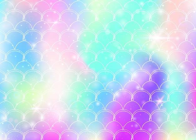 귀여운 무지개 비늘 패턴으로 공주 인어 배경입니다. 마법의 반짝임과 별이 있는 물고기 꼬리 배너. 여자 파티를 위한 바다 환상 초대. 플라스틱 공주 인어 배경입니다.