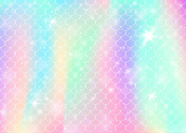 Princess mermaid background with kawaii rainbow scales pattern. fish tail banner with magic sparkles and stars. sea fantasy invitation for girlie party. bright princess mermaid backdrop.