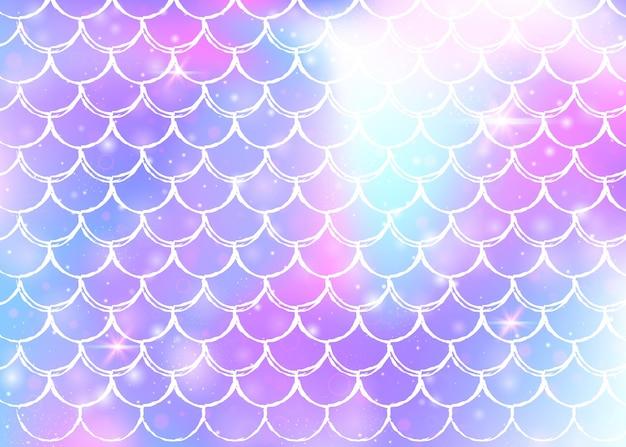 Princess mermaid background with kawaii rainbow scales pattern