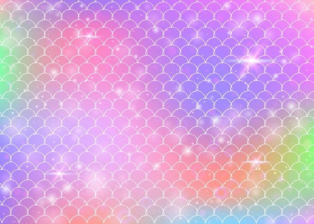 귀여운 무지개 비늘 패턴으로 공주 인어 배경입니다.