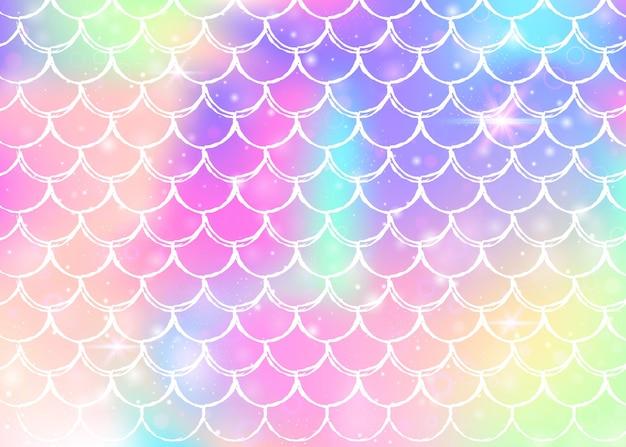 무지개 비늘 패턴으로 공주 인어 배경