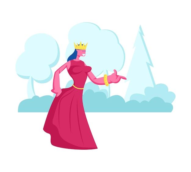 공주 또는 여왕 머리에 왕관과 함께 빨간 드레스에 자연 풍경 배경에 서있다. 만화 평면 그림