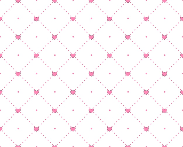 Узор принцессы с геометрической структурой и розовыми сердечками.