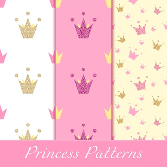 Princess patterns with glittering golden and pink crowns