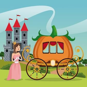 Princess pumpkin carriage castle landscape