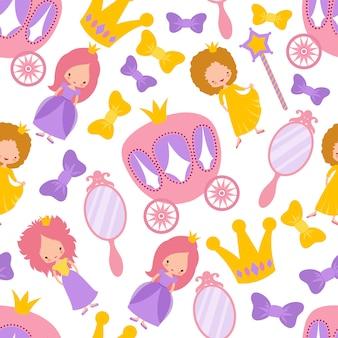 Princess seamless cartoon pattern.