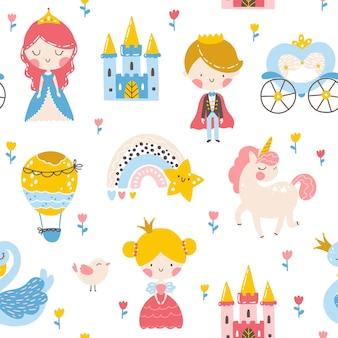 Princess seamless pattern with prince unicorn swan castle and rainbow