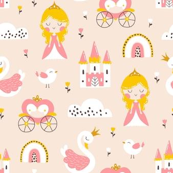 백조 성 무지개와 꽃 공주 원활한 패턴