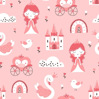Princess seamless pattern with swan castle rainbow and flowers illustration of a girl