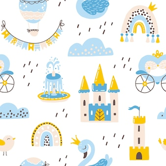 Princess seamless pattern with swan castle rainbow and flowers