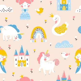Princess seamless pattern with unicorn swan castle and rainbow illustration of a girl