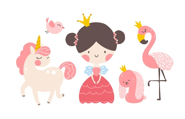 Princess seth unicorn flamingo rabbit in crowns