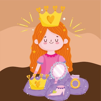 Princess tale cartoon cute girl with crown mirror shoe and ring fantasy vector illustration