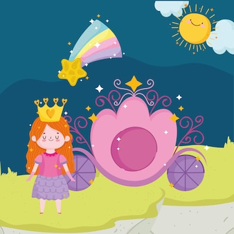 Princess tale cartoon girl with crown carriage shooting star sky vector illustration