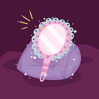 Сказка принцессы мультфильм волшебное зеркало на подушке украшения векторные иллюстрации