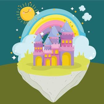 Сказка принцессы мультфильм радужный замок фантазия воображение векторные иллюстрации