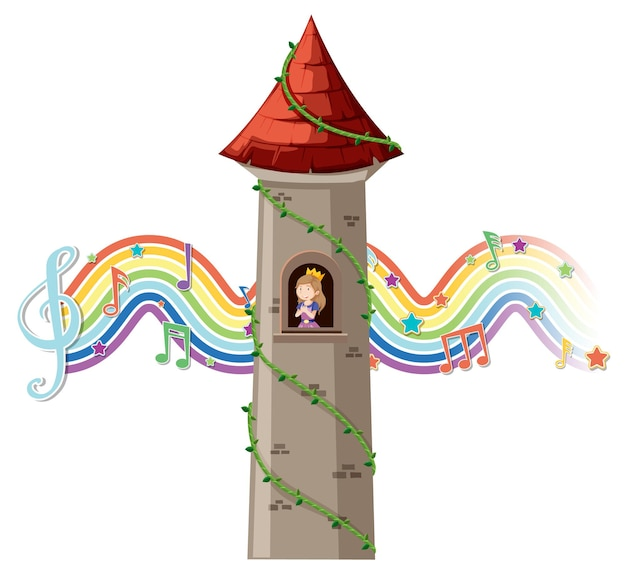 Princess in tower with melody symbol on rainbow wave