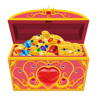 Princess treasure chest, decorated with diamonds and gold in cartoon style
