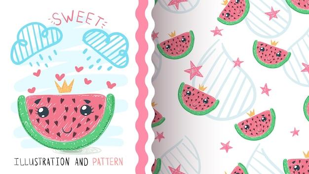Princess watermelom fruit - seamless pattern