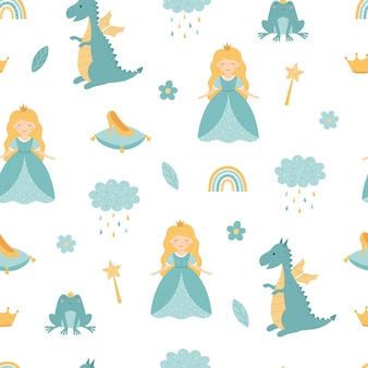 A princess with a dragon seamless childrens pattern