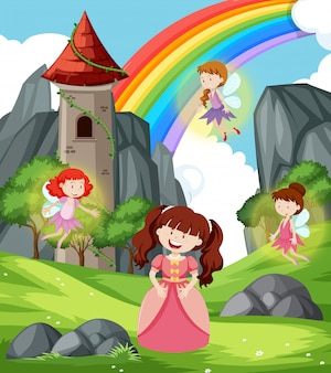 Princess with fairies scene